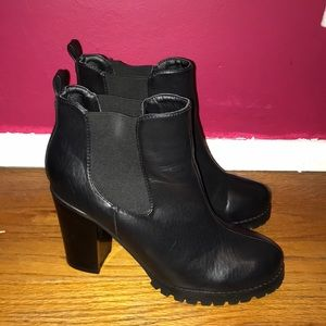 Black Faux Leather Booties